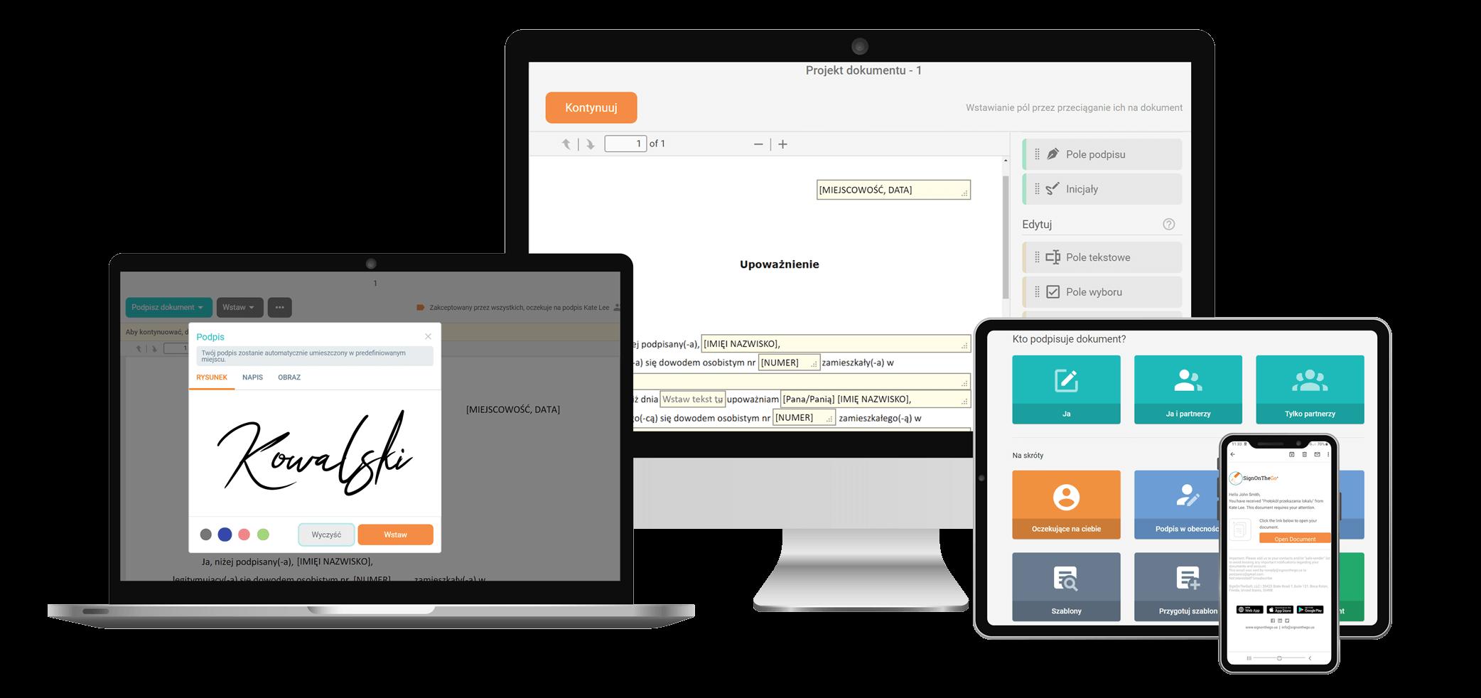 SignOnTheGo ekrany aplikacja do podpisu elektronicznego